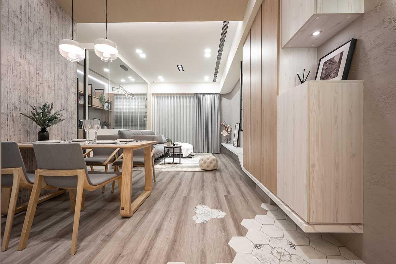 營造北歐風格 木地板與六角磚異材質結合