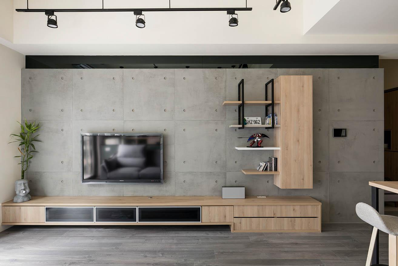 工業風-清水模設計電視牆;