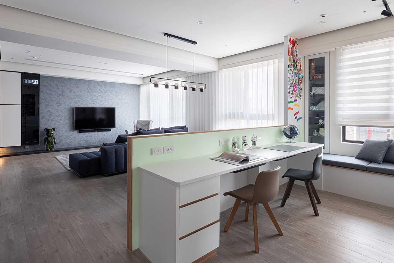 客廳畸零空間規劃開放書房設計;