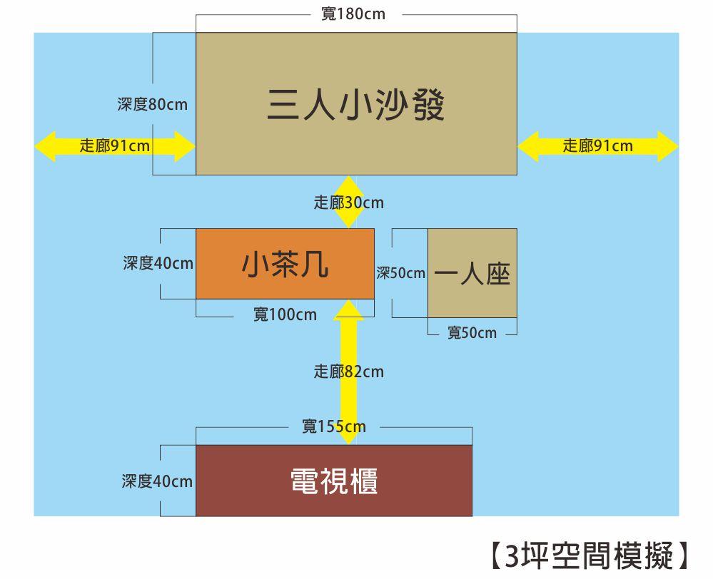 2-3人三坪空間客廳模擬圖;