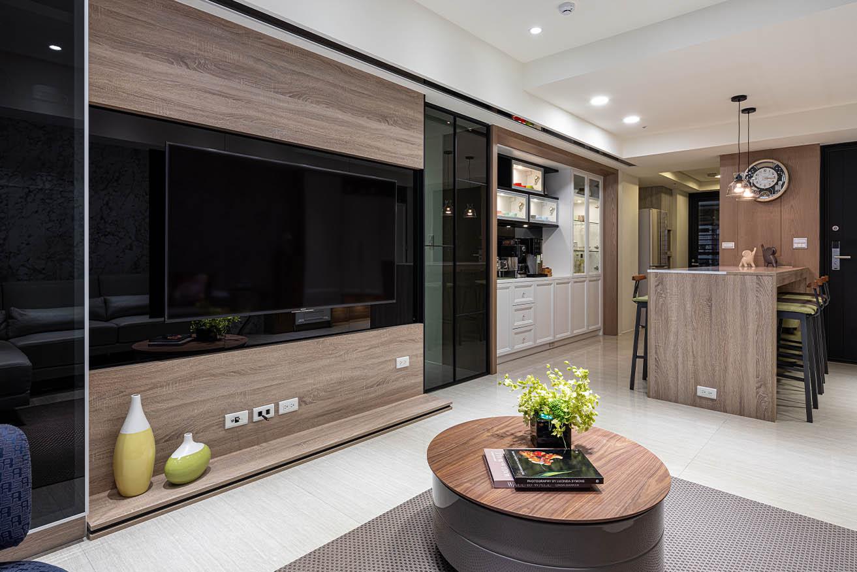 現代風-黑鏡融合木質元素電視牆;