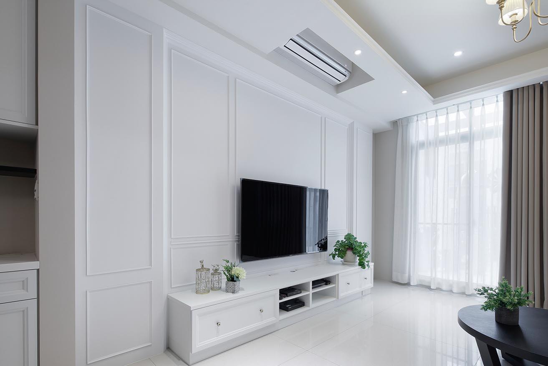 古典風-線板設計電視牆;